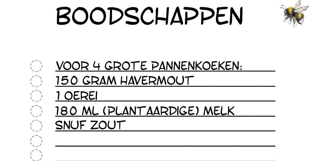 Boodschappenlijstje Havermoutpannenkoeken